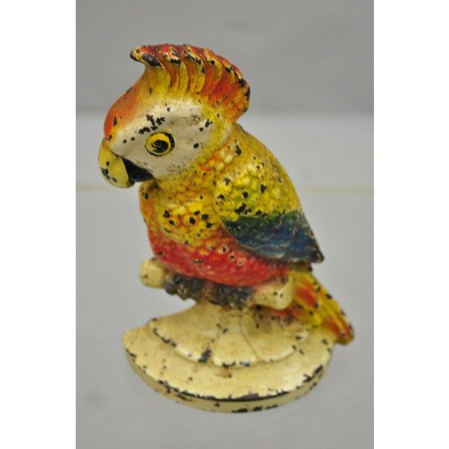 "Antique Art Novueau Cast Iron Hand Painted 8"" Cockatoo Parrot Figurine Doorstop For Sale - Image 9 of 11"