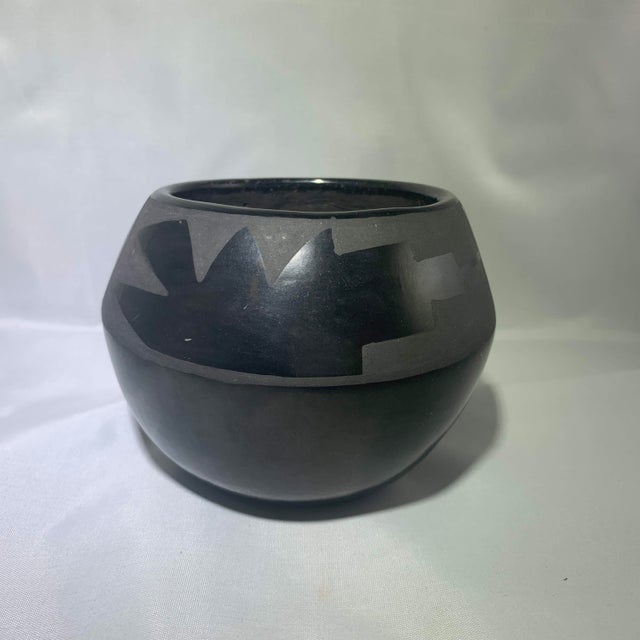 Southwest Santa Clara Black on Black Matte Black Ware Jar by Lucaria Tafoya For Sale - Image 11 of 13
