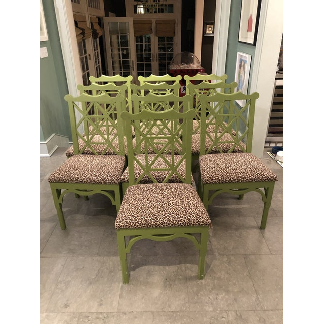 Custom Chinese Chippendale Green Chairs - Set of 10 - Image 11 of 11