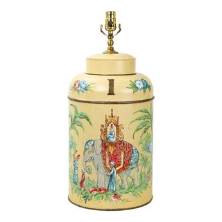 "Vintage Tole Tea Caddy Lamp With Elephant Rider ""No.1"" For Sale"