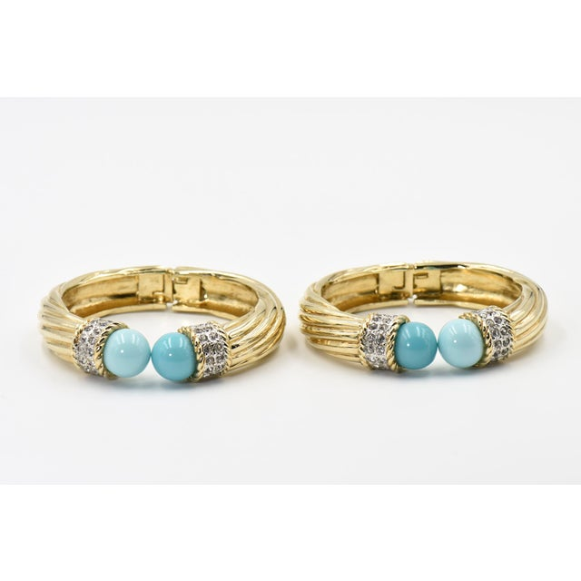 Italian Italian Costume Turquoise Crystal Gold Plated Bangle Bracelets For Sale - Image 3 of 8