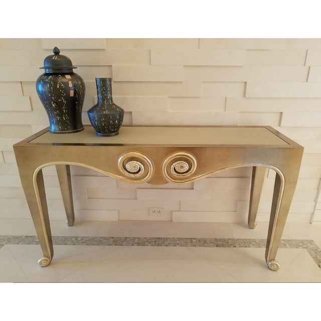 Gorgeous Silver Leaf Snail Console Table By Sally Sirkin Lewis for J Robert Scott sold as found in vintage condition...
