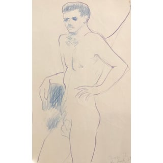"""Chuck It"" Standing Male Nude by James Bone, 1990s For Sale"