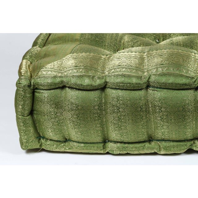 Oversized silk square green tufted floor pillow cushion. Handcrafted from silk sari fabric, these floor seat cushions are...