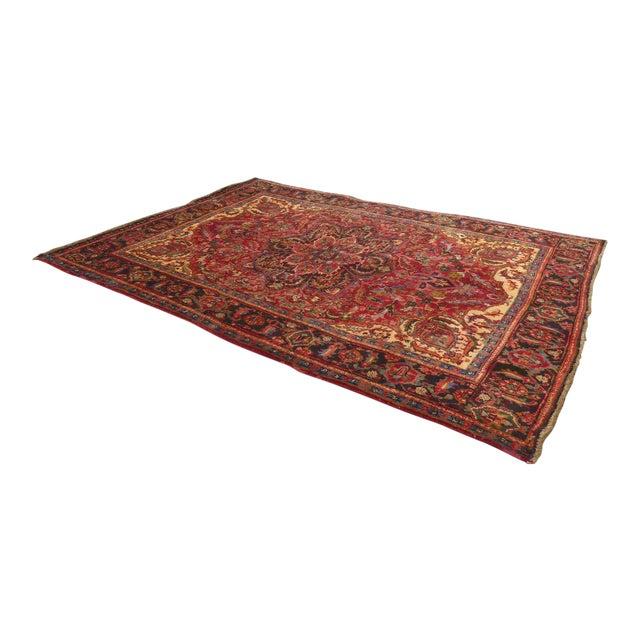 Vintage Red Floral Design Persian Rug - 7′ × 9′ For Sale