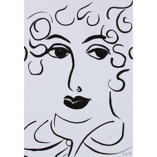 """Rob Delamater """"Faces of the Musee d'Orsay Xii"""" Ink on Paper Portrait, 2017 For Sale"""