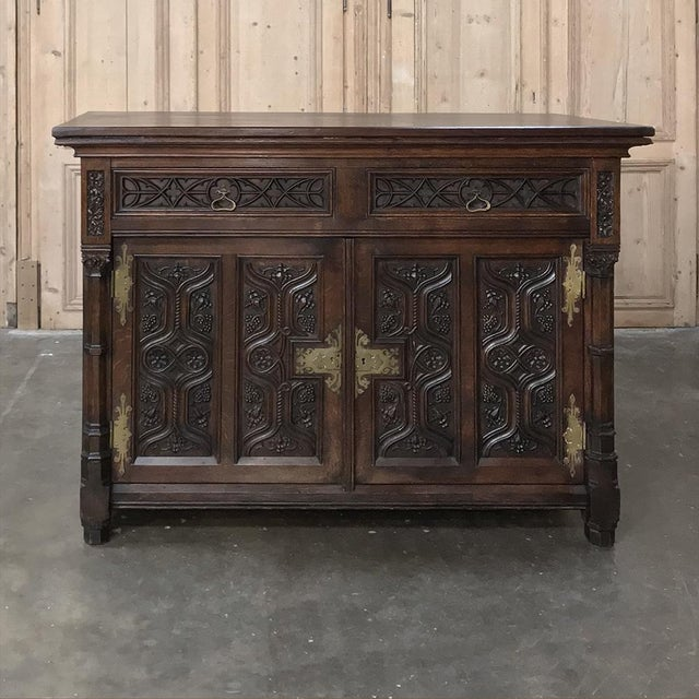 French 19th Century French Gothic Oak Buffet With Brass Hardware For Sale - Image 3 of 13
