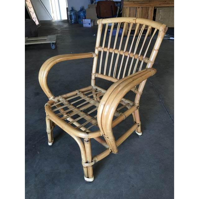 Boho Chic 3-Strand Bentwood Rattan Armchair With Stick Rattan Back For Sale - Image 3 of 10