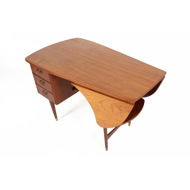 Danish Modern Biomorphic Double Drop Leaf Desk - Image 7 of 11
