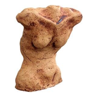 1970s Vintage Female Nude Clay Torso Sculpture For Sale