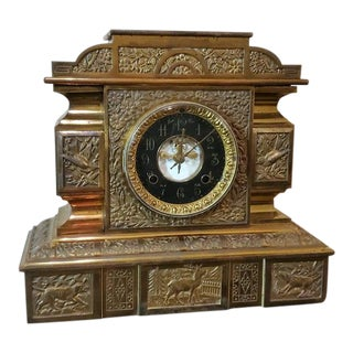 19th Century New Haven Open Escapement Gilt-Brass Mantle Clock For Sale
