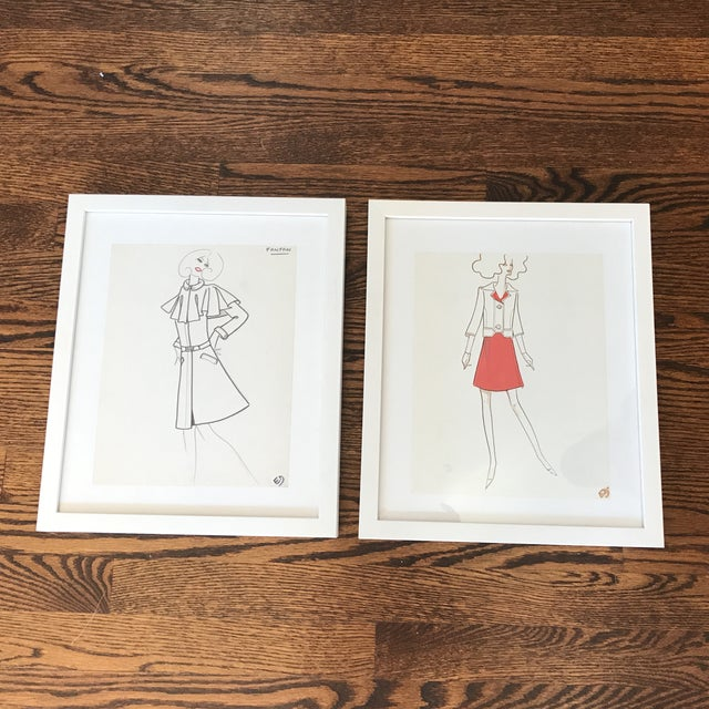 1970s Original Fashion Drawings by Jean Eden - a Pair For Sale - Image 10 of 10