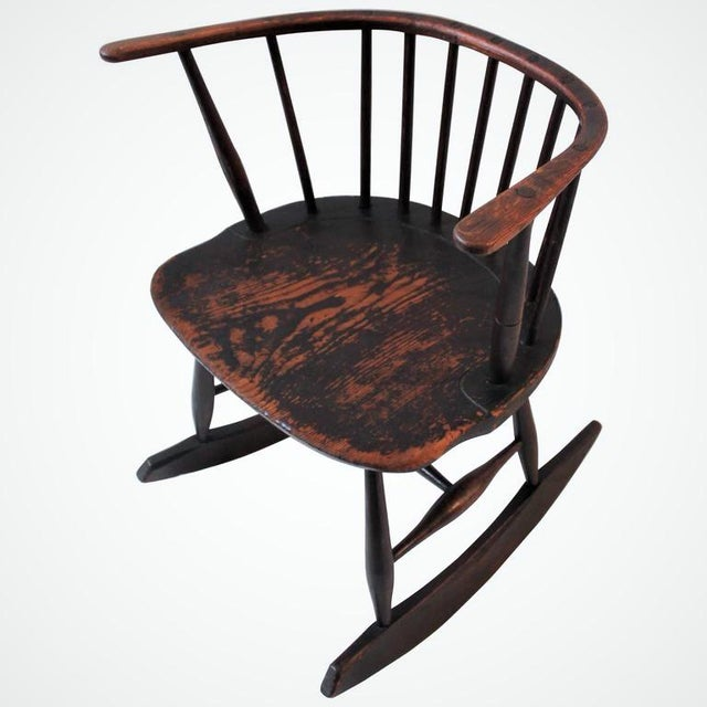 This fine example of 18th century Folk Art or very rare Americana. This chair was made to fall below the chair rail in the...