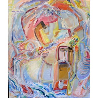 Adine Stix Large Abstract Expressionist Oil Painting, 1975-1977 1975-1977 For Sale