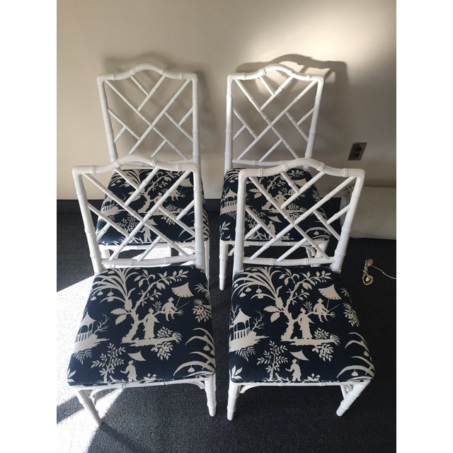 Chippendale White Bamboo Chairs - Set of 4 - Image 3 of 8