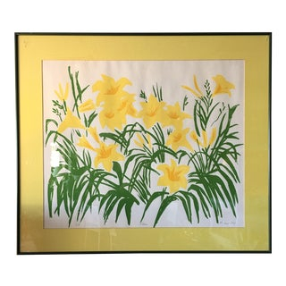 """Framed """"Lilies"""" Yellow Print For Sale"""