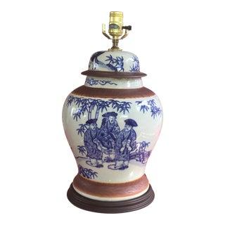 Blue & White Ginger Jar Chinoiserie Lamp