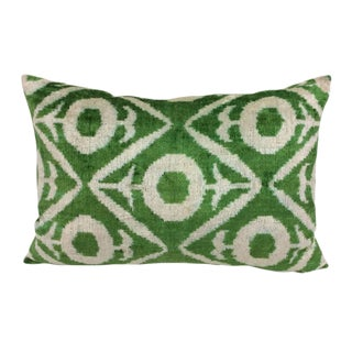 Green Silk Velvet Down Feather Accent Pillow For Sale