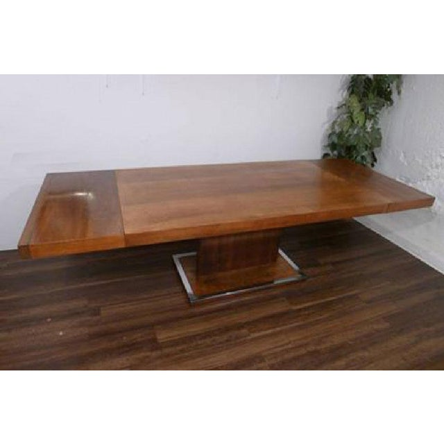 1970s Hollywood Regency Milo Baughman for Founders Walnut Extension Dining Table For Sale - Image 10 of 12