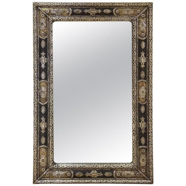 Black Moroccan Rectangular Metal Inlaid Mirror For Sale - Image 8 of 8