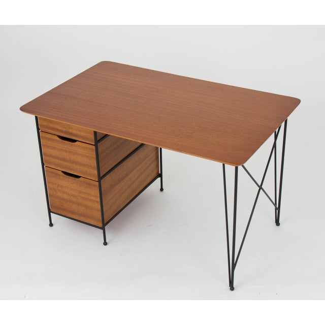 Modernist Desk in Mahogany and Enameled Steel by Vista of California - Image 6 of 9