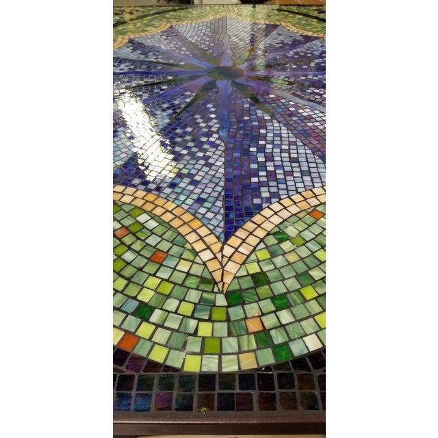 Boho Chic Mosaic Fleur-De-Lis Sunburst Tile Top Table For Sale - Image 12 of 13