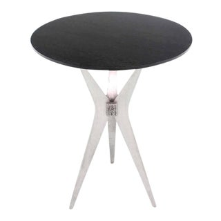 Tall Cast Aluminum Tri-Leg Base Round Cafe Dinette Table For Sale