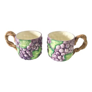 Vintage 1980s Fitz and Floyd Majolica Style Grape Mugs - a Pair For Sale