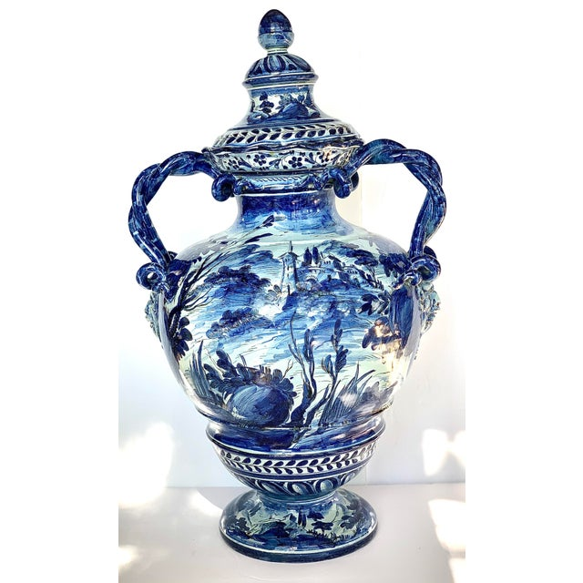 A large, exquisite antique Italian Majolica intertwined snake-like handled urn by Cantagalli, circa late 19th/early 20th...