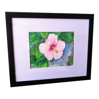 """""""Hibiscus Flower (Hawaii State Flower)"""" Contemporary Botanical Watercolor Painting, Framed For Sale"""