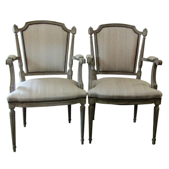 Gray Carved Wood Side Chairs - A Pair - Image 1 of 3