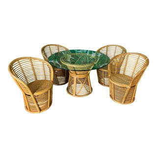 Horizontal Rattan Albini Style Dining Set For Sale