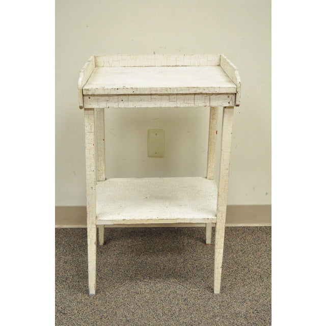 Antique White Distress Painted Pine 2 Tier Accent Side Table Rustic