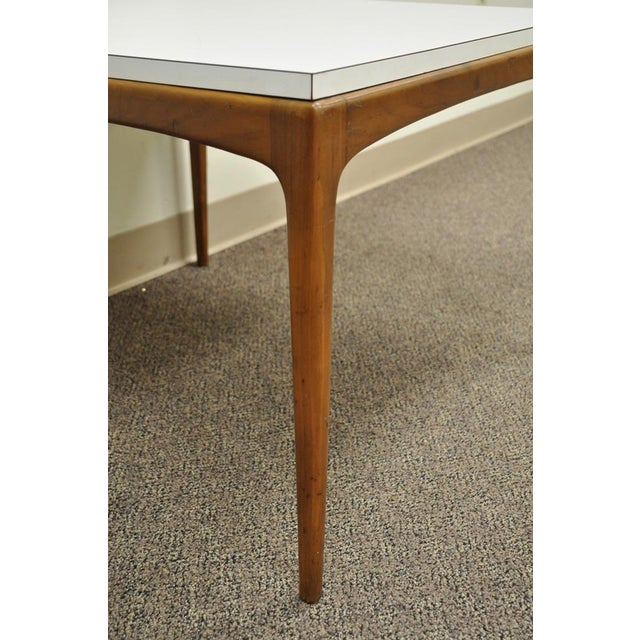 Vintage Mid Century Modern Walnut & Laminate Square Coffee Table Danish Style For Sale - Image 4 of 11