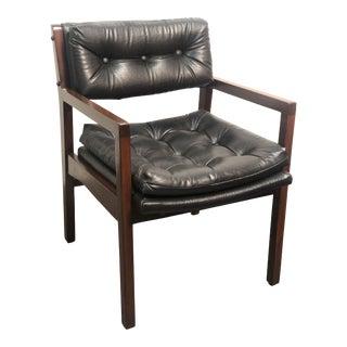 Vintage Mid-Century Gunlocke Style Black Side Chair For Sale