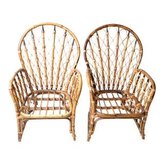 1970s Rattan, Wicker and Bamboo Dining Armchairs - Pair For Sale