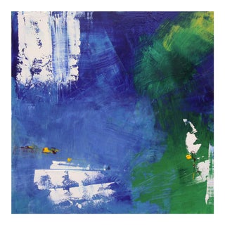 Green, Blue & White Abstract Oil Painting by Paul Ashby