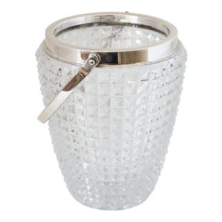 Towle for William Adams Crystal and Silver-Plated Ice Bucket For Sale