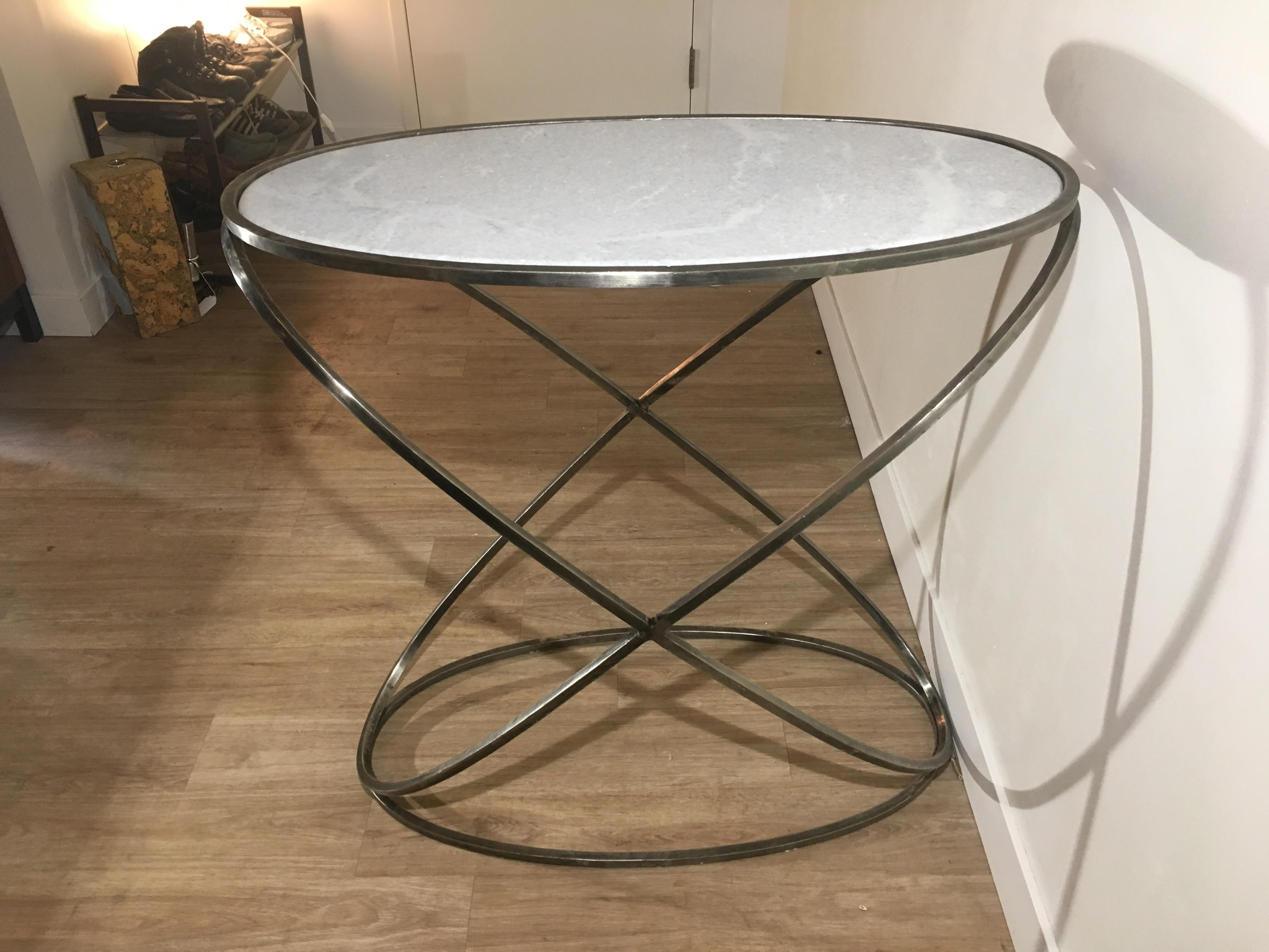 Late 20th Century Granite Topped Designer Elliptical Console Table For Sale    Image 5 Of 9
