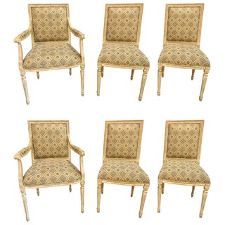 Jansen Louis XVI Style Dining Chairs Parcel-Gilt and Paint Decorated - Set of 6