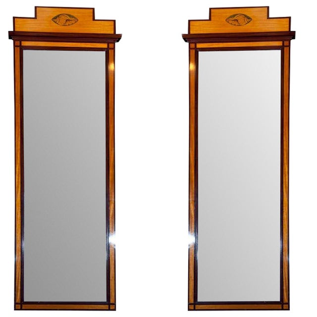 Antique Pier Satinwood Mirrors Mahogany Trim Banding Inlaid Decorated Pediment - a Pair For Sale
