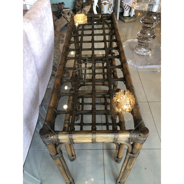 Vintage Tropical Bamboo Rattan Console Table and Benches - 3 Pc. Set For Sale - Image 4 of 13