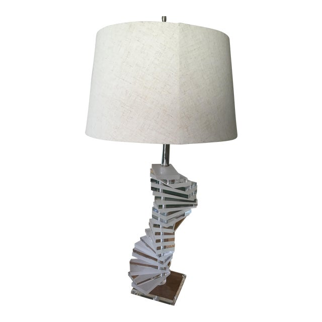 Mid-Century Modern Large Stacked Lucite Lamp - Image 1 of 4