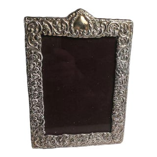 Paterna & Livi Italian Sterling Silver Embossed Desk or Vanity Picture Frame For Sale