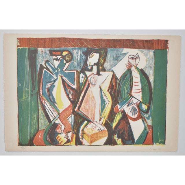 Mid Century Figural Abstract by Becker c.1953 Rare pencil signed lithograph by Becker. From a limited edition of 300....