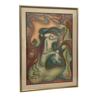 Contemporary Figural Abstract Nude Oil Painting C.1990s For Sale