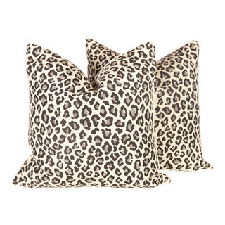 Black & Grey Leopard Pillows - A Pair For Sale