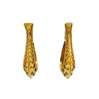 18k Yellow Gold Etruscan Style Hoop Pierced Earrings For Sale