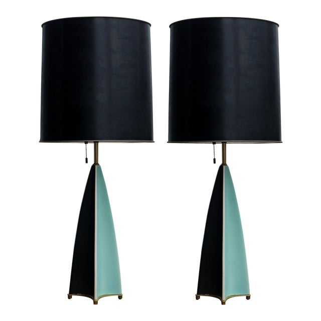 Pair of Gerald Thurston Fin Lamps for Lightolier For Sale