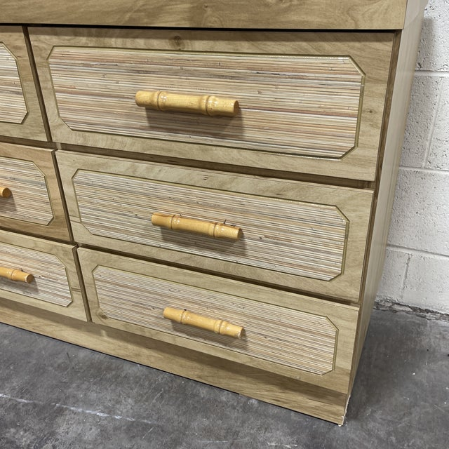 1970s Vintage Boho 9 Drawer Dresser With Bamboo For Sale - Image 5 of 12